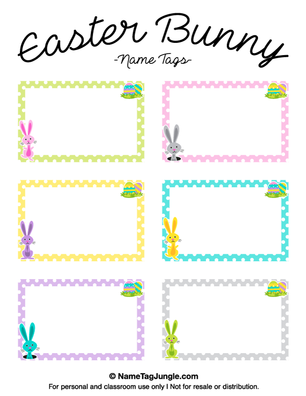 Free Printable Easter Bunny Name Tags The Template Can Also Be Used - Card template free: name placard template