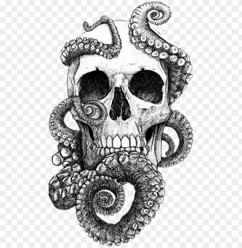 Blackandwhite Skull Tentacles Tattoo Tattooart Skulls Skull And