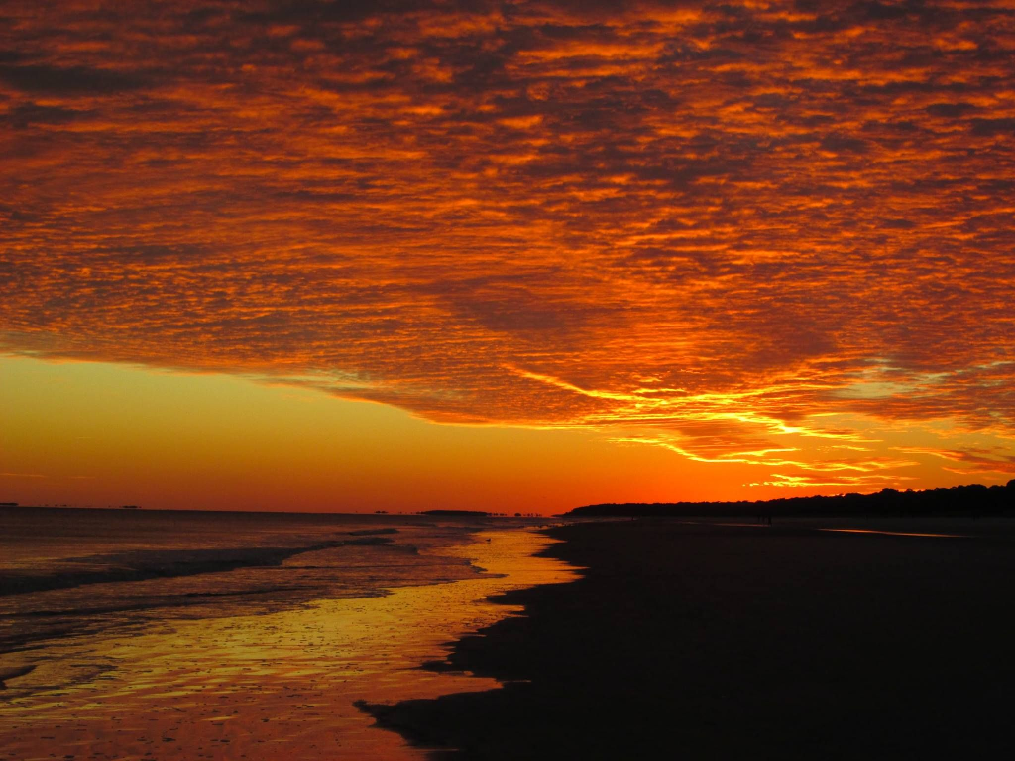 Bright orange skies in Hilton Head, South Carolina.