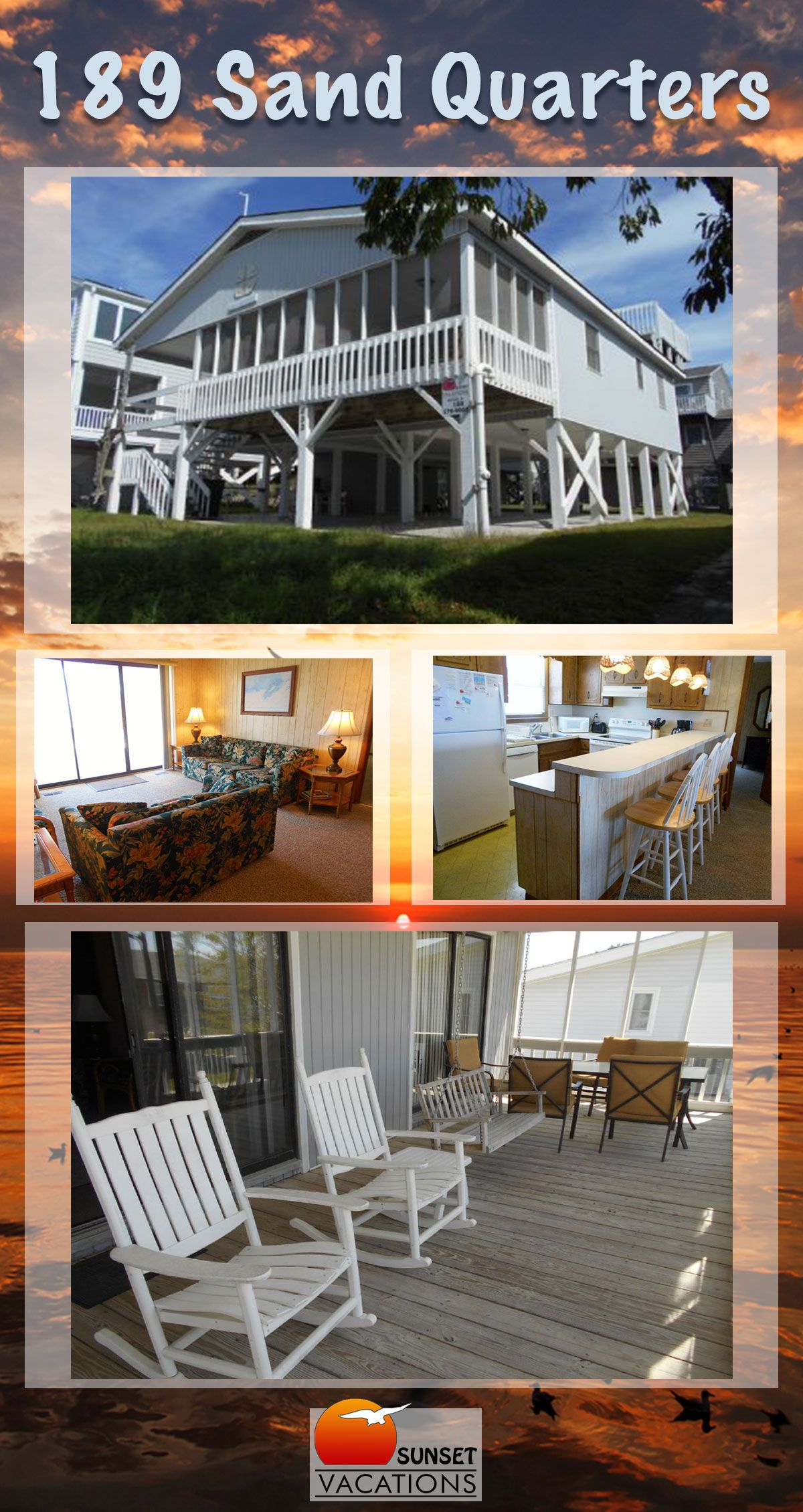 Sand Quarters Is A Great Mid Island Home With 4 Bedrooms Book Your Summer 2018 Vacation Today Sunset Beach Nc Awaits Sunset Vacations Beach Sunset Vacation