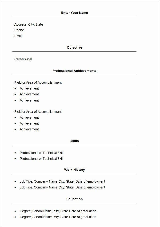 Basic Resume Template Examples Lovely Basic Resume Template 51 Free Samples Examples Format In 2020 Basic Resume Job Resume Template Basic Resume Format
