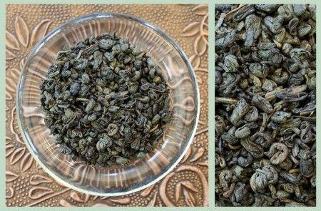 Gunpowder green tea. History here! https://www.teatrekker.com/teas/gunpowder