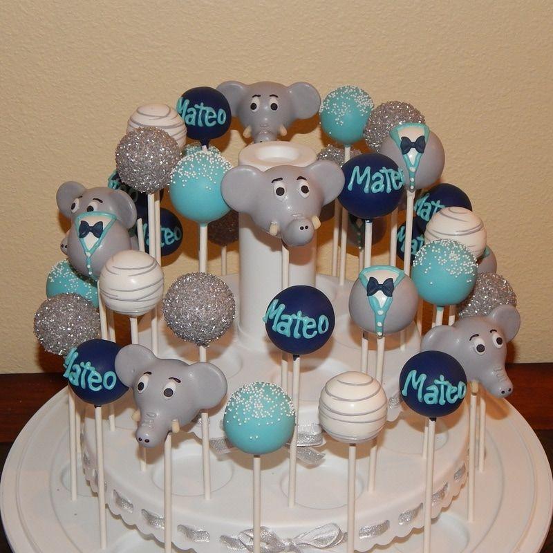 Elephant Themed Baby Shower Cake Pops With Images Elephant