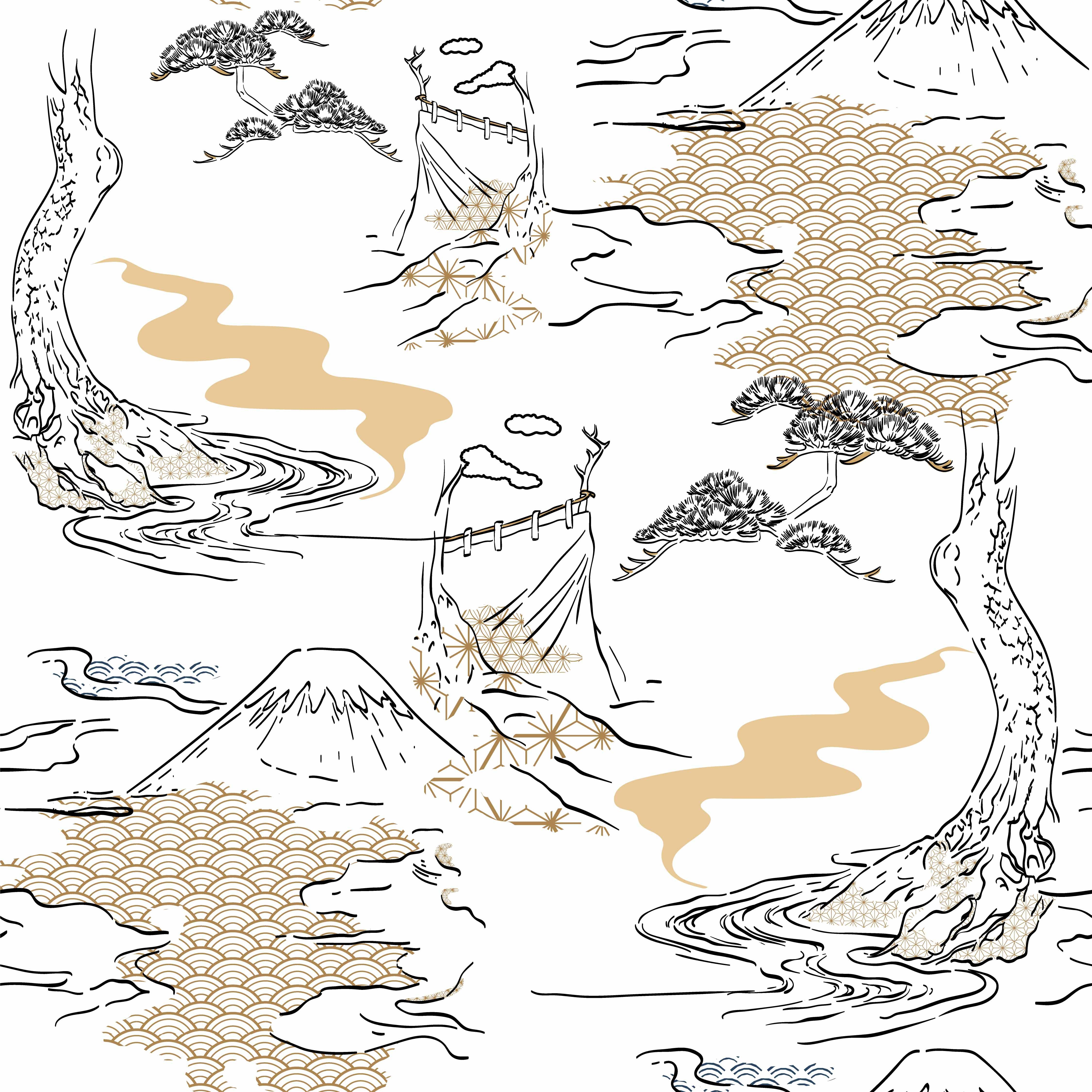 Mountain and nature hand drawn vector with Japanese pattern Gold wave background