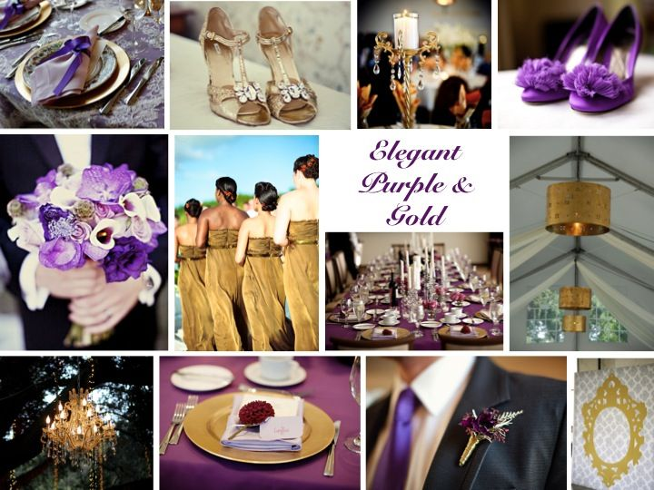 Inspiration Board Elegant Purple Gold Wedding Colorschasing