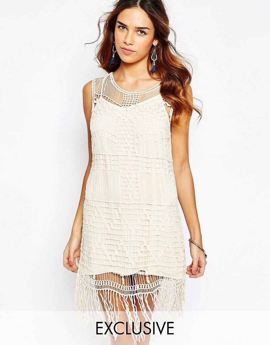 Kiss+The+Sky+Crochet+Dress+With+Tassel+Trim Dresses