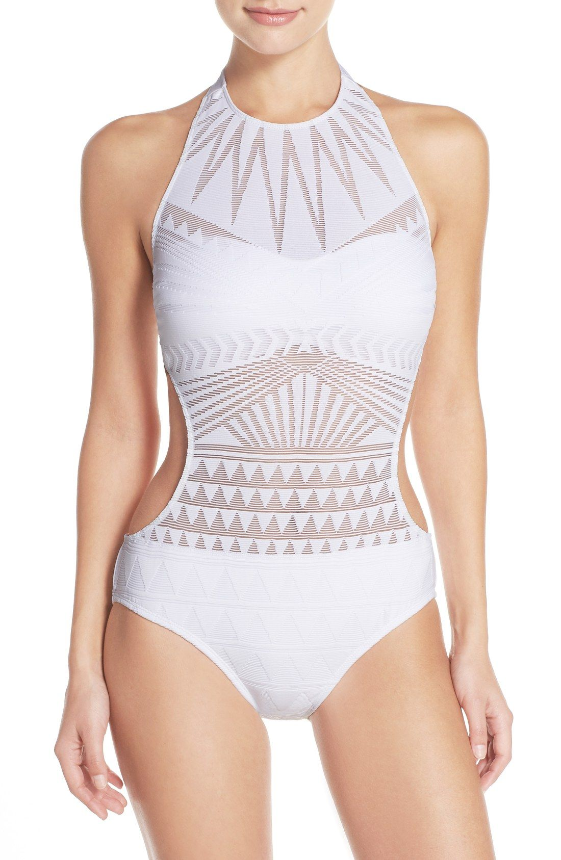 2be9983b32a Kenneth Cole New York 'Deco the Distance' High Neck One-Piece Swimsuit