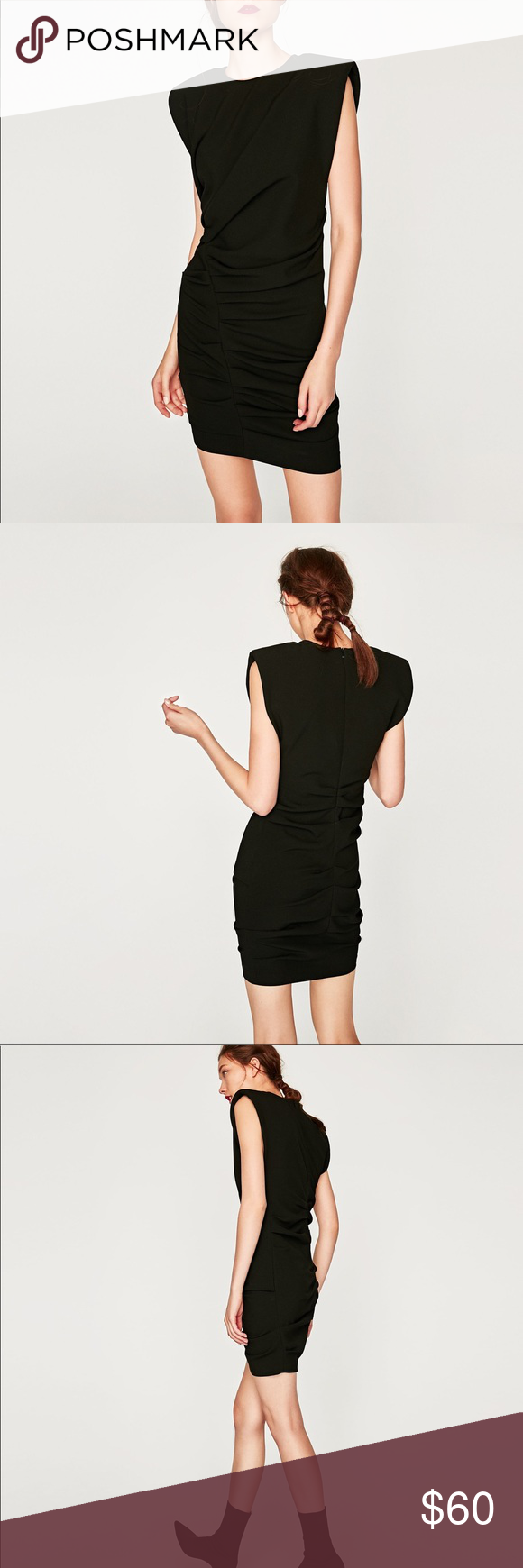 Nwt Zara Black Ruched Dramatic Mini Draped Dress Zara Black Dress Black Ruched Dress Zara Black [ 1740 x 580 Pixel ]