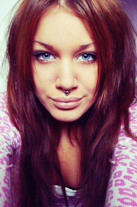 auburn hair / lip dimple piercing / septum