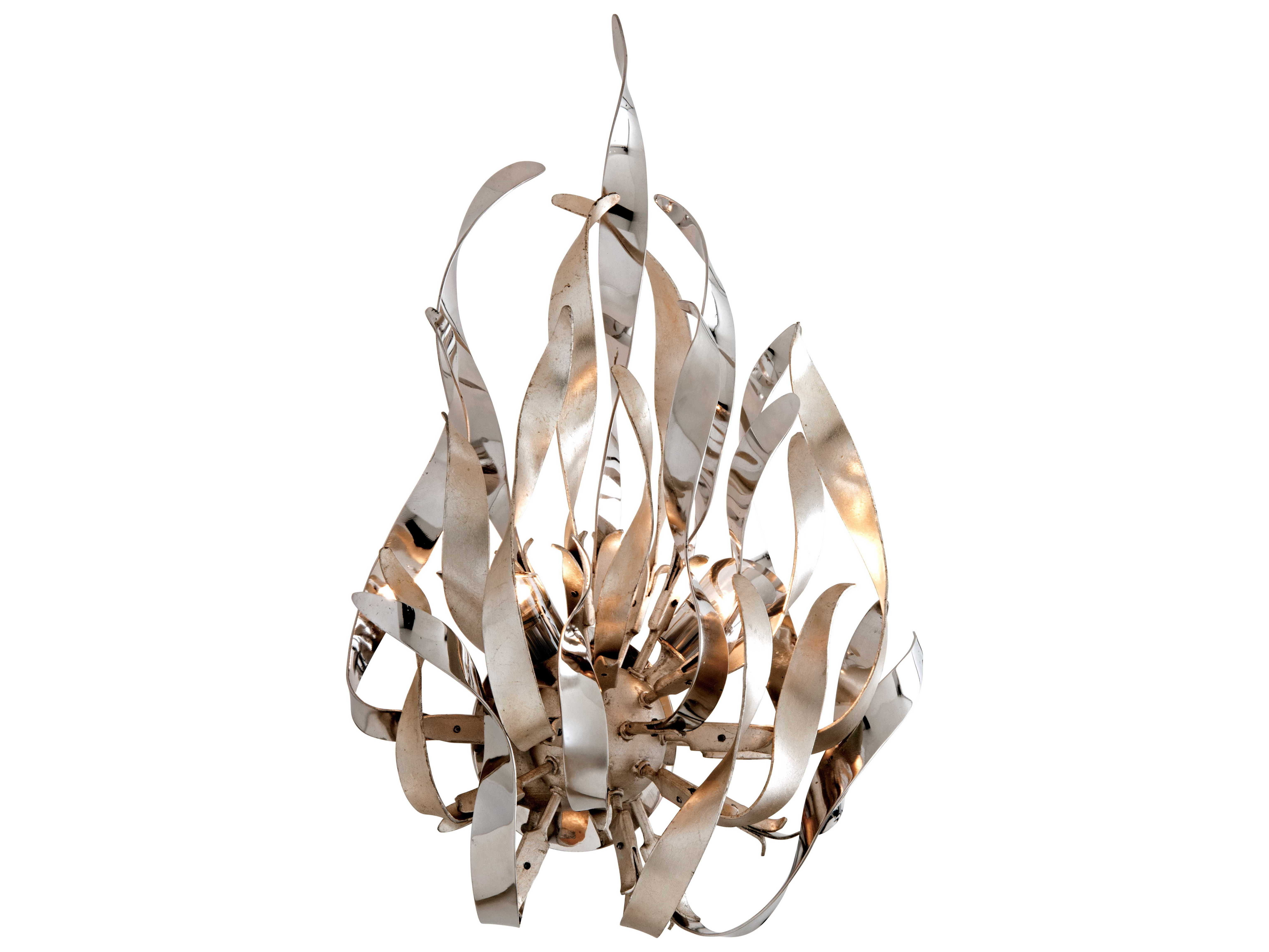 Corbett Lighting Graffiti Silver Leaf Polished Stainless Two Light 14 Wide Wall Sconce Wall Sconces Graffiti Wall Corbett Lighting