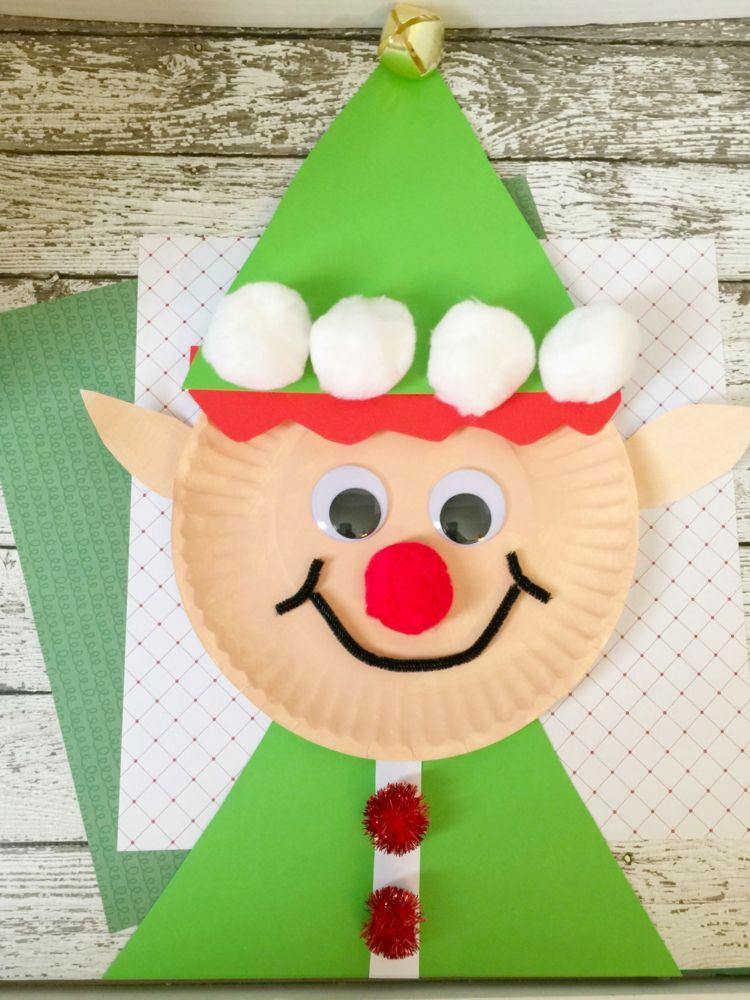 Basteln Papier Weihnachten Kinder Weihnachtself Pappteller Bommeln