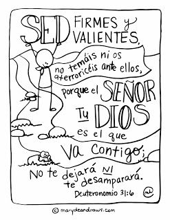 My First Spanish Coloring Page Deuteronomio 31 6 Bible Verse