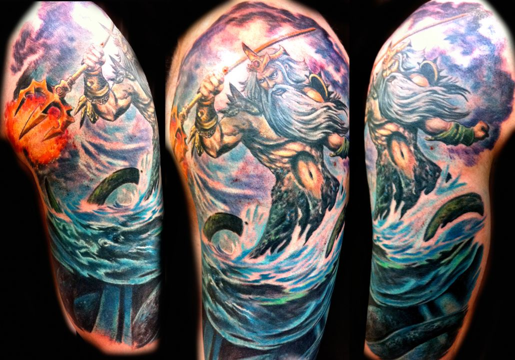 Poseidon Tattoo: Poseidon Tattoo Done By Joey Hamilton. The Detail And