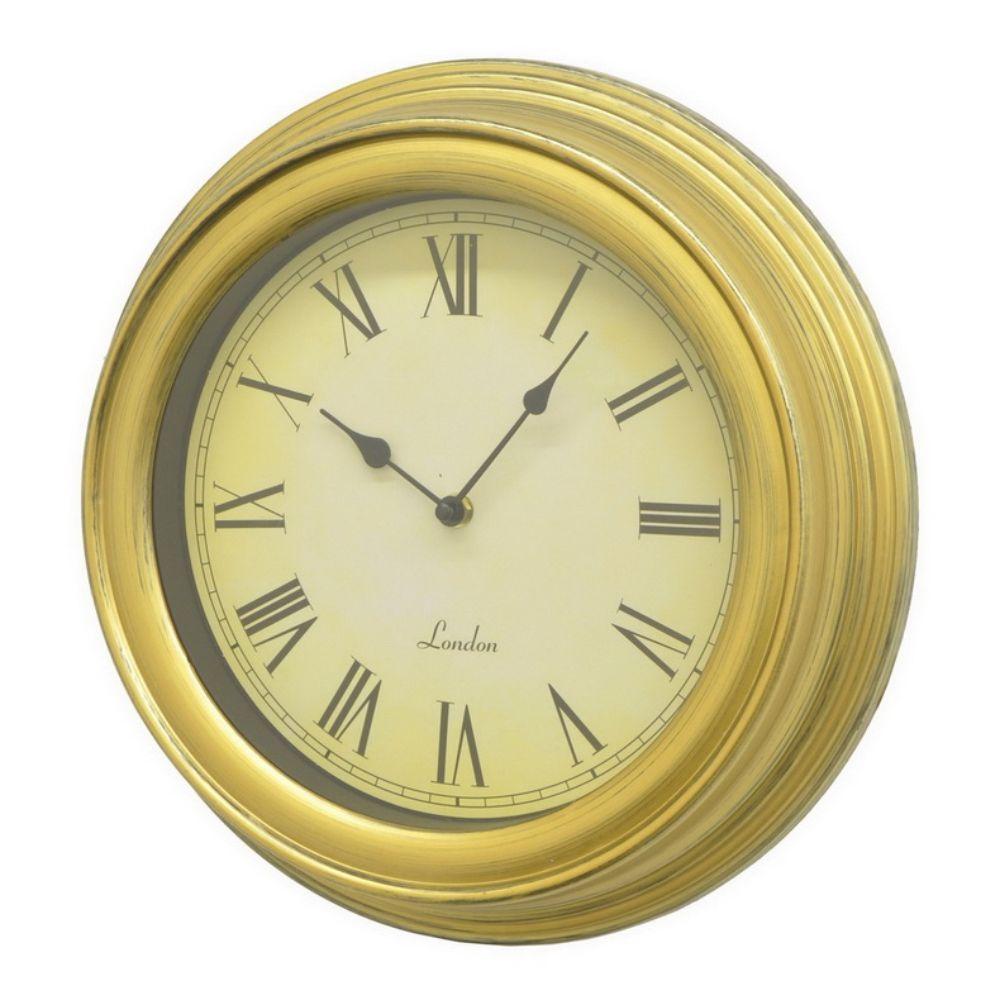 Benzara Gold Resin 13.75-inch Wall Clock (Gold) | Wall clocks ...