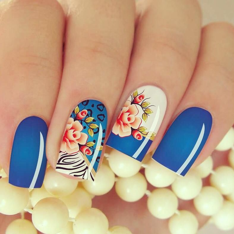 50 Beautiful Stylish And Trendy Nail Art Designs For: Películas Ou Adesivos De Unhas Modelo Flores Com Azul