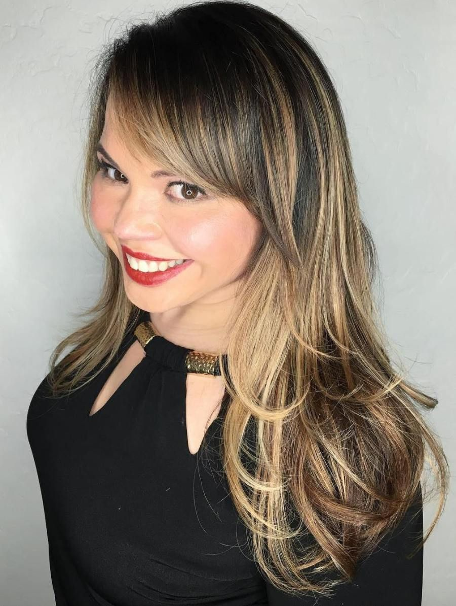 Mid,Length Balayage Hair With Side Bangs
