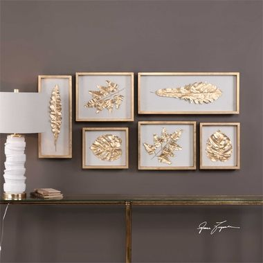 Uttermost Golden Leaves Shadow Box Set/6 Golden leaves, Shadow box
