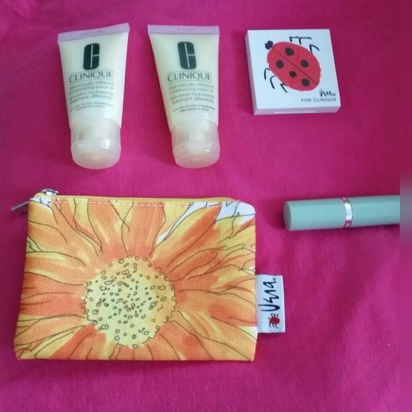 Clinique Bundle Clinique bundle contains: *2 Dramatically Different Moisturizing Lotion *Colour Compact w/ All About Shadow Duo & Blushing Blush Powder Blush *Long Last Soft Matte Lipstick in Matte Magenta *Mini Bag with orange flower  All are NWT Clinique Makeup