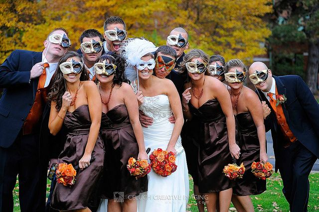 Masks Instead Of Bouquets For A Halloween Wedding Masquerade Wedding Mardi Gras Wedding Theme Halloween Wedding