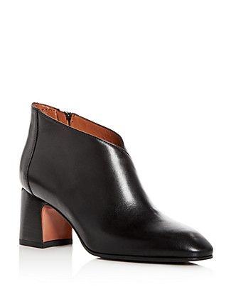 Aquatalia Women's Elodina Weatherproof Leather Block Heel Booties