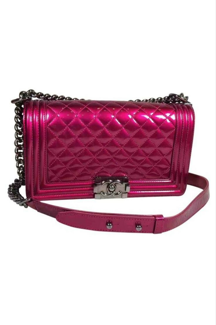 Chanel Boy Bright Pink Patent Leather Handbag Fashionista Style Fblogger