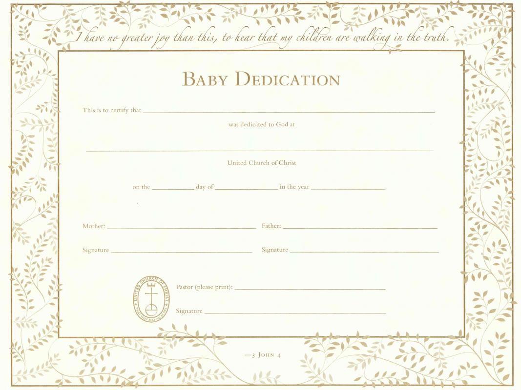 Baby Dedication Certificate Baby Dedication