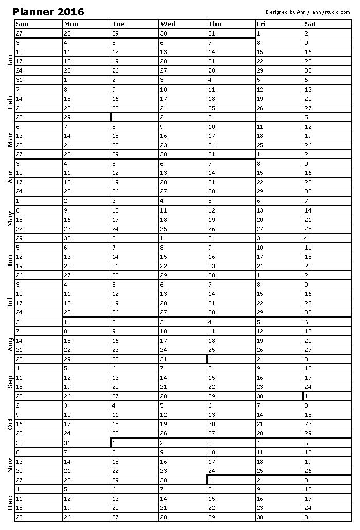 printable single page calendar planner 2016 sunday week start