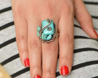 Turquoise ring - copper wire ring, wire wrapped jewelry handmade, adjustable wrap ring, bridesmaid jewelry, unique bride jewelry, gemstone