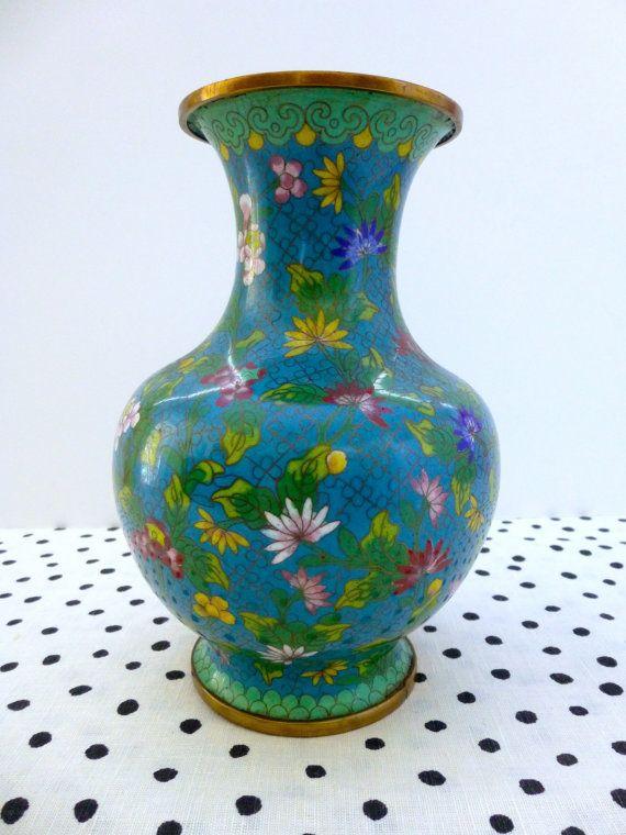 Vintage Chinese Cloisonne Vase Turquoise Cloisonne Asian Vase