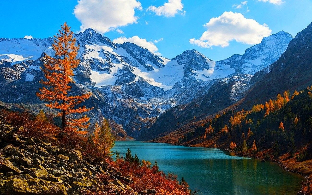 Trees Mountains Lakes Beautiful Clouds View Morning Autumn Russia Snowy Altai Forests Peaks Iphone Wallpapers Russia Landscape Mountains Adventure