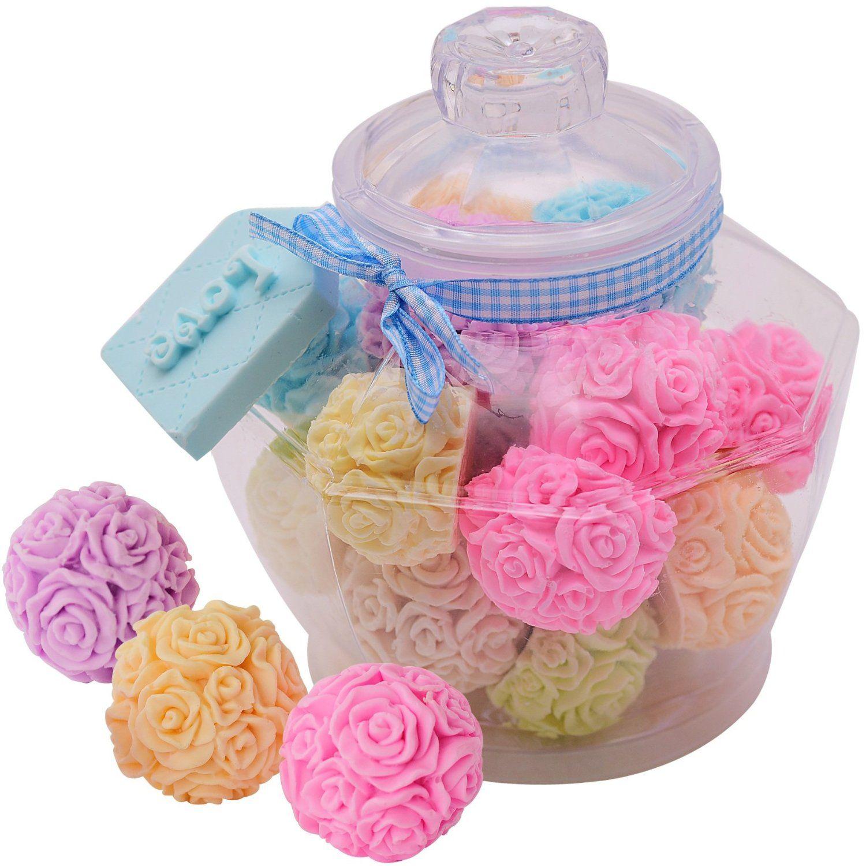 Rose Ball Soaps Decorated Plastic Jar Unique Premium