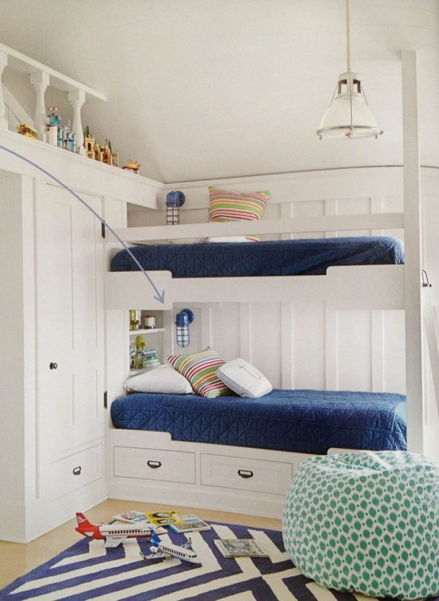 Built In Bunk Beds With Wall Sconce Lighting Luxury Bedroom