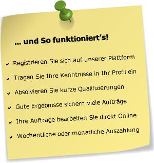 Ein bisschen extra verdienen mit Clickworker, geht sehr einfach von überall (in mehreren Sprachen) und ist seriös. https://www.clickworker.com/de/clickworker?utm_source=686564&utm_campaign=CW4CW&utm_medium=email (Referrallink)