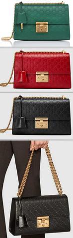 Padlock Signature Leather Shoulder Bag - Green, Red or Black