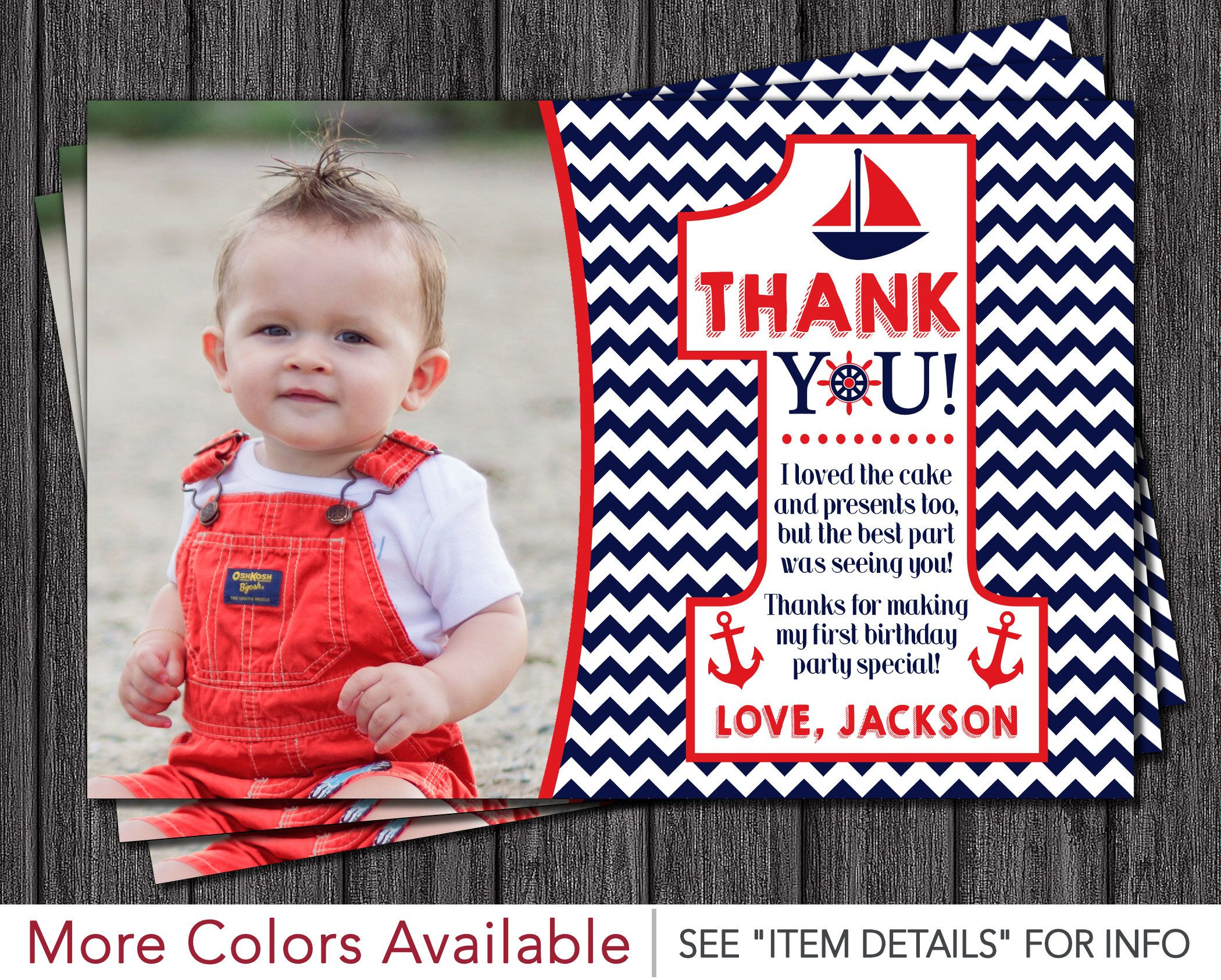Nautical First Birthday Thank You Card Navy and Red Chevron