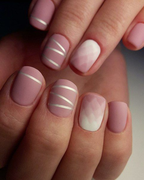 Simple Matte Rose Gradient Nail Art Pink And With With Silver Stripes In 2020 Bride Nails Simple Nails Trendy Nails