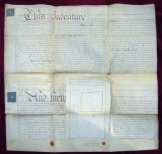 Large Manuscript Indenture with Map of Dominick St. Dublin 1804