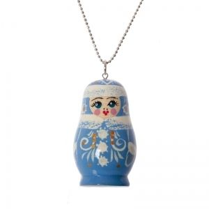Handmade winter matryoshka necklace