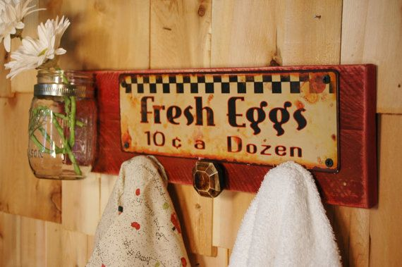 Farm Fresh Eggs board with 3 knobs and two by PineknobsAndCrickets