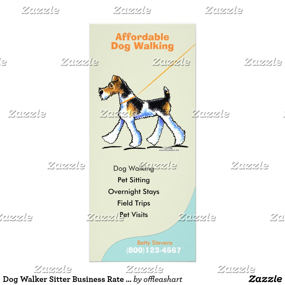 Dog Walker Sitter Business Rate Card Zazzle Co Uk Dog Walking