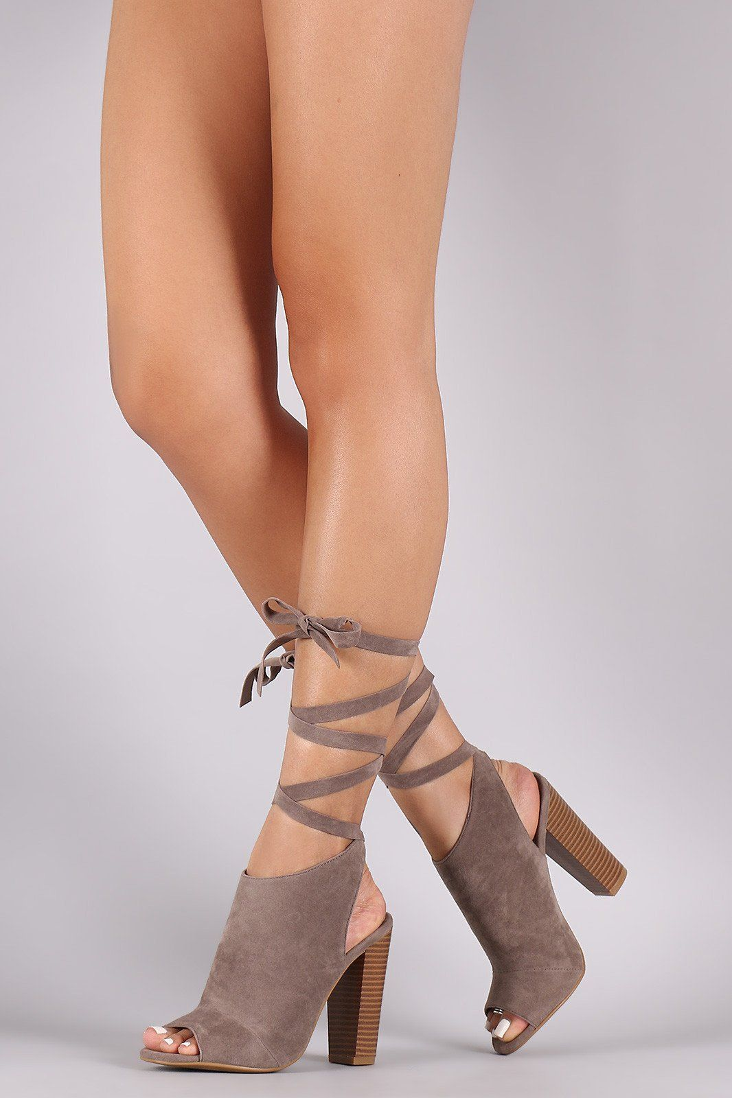 3706c3c2487 Bamboo Mule Lace Up Chunky Heel