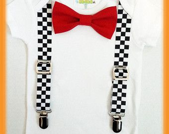 Racecar Birthday Shirt - Racecar First Birthay Bow Tie and Suspender Outfit…