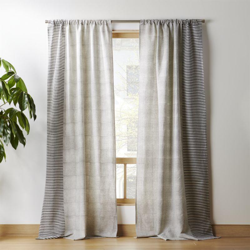 Block Printed Stripe Curtain Panel Cb2 Stripe Curtains Living Room Striped Curtains Panel Curtains