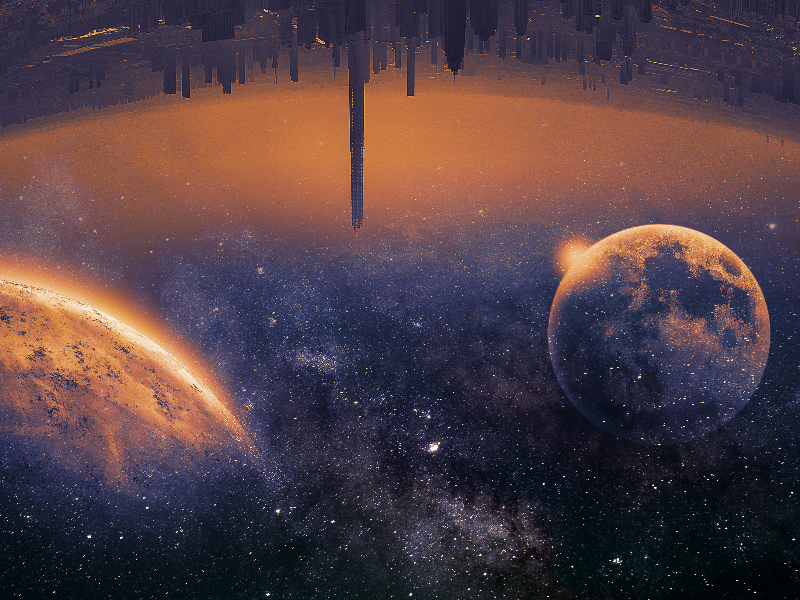 Sci Fi City Background With Galaxy Space Texture Free Sci Fi City Sky Textures Background