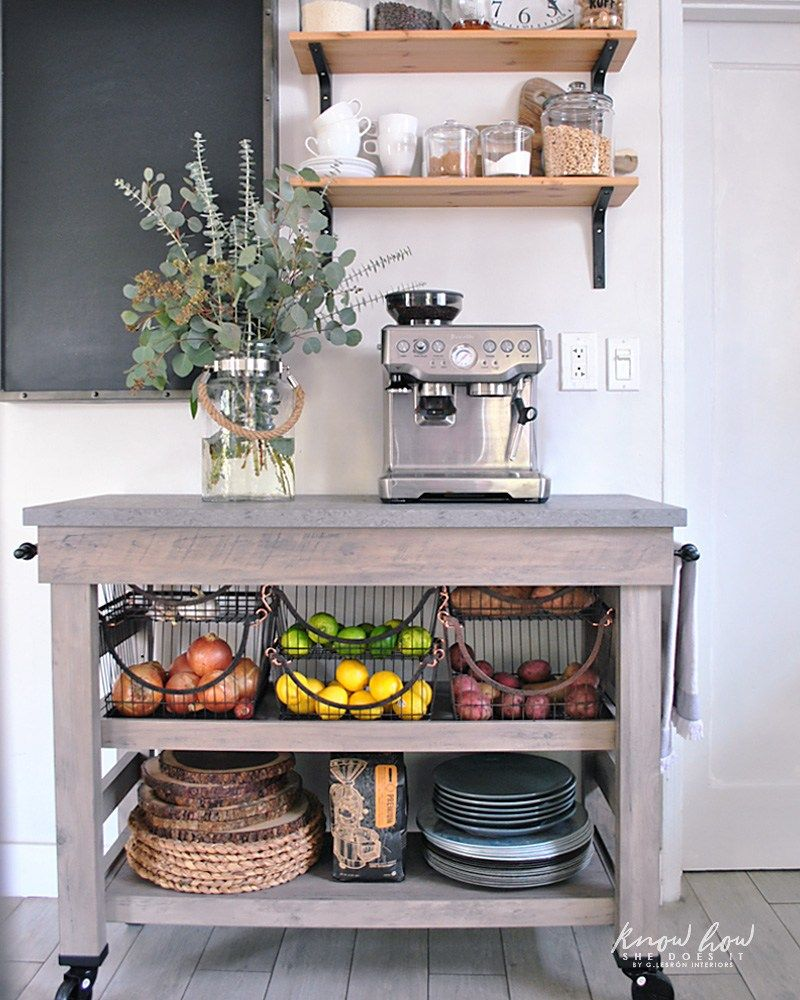 Coffee Station And Storage Ideas For Small Kitchens (Kitchen Cart From BHG  Live Better At