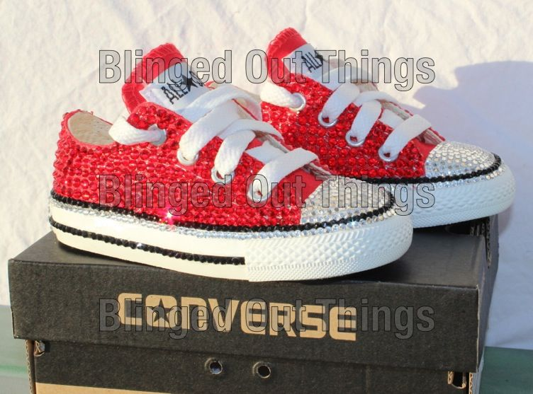 Bling Crystal Red Converse All Star Baby Toddler  8bf38c0327d5