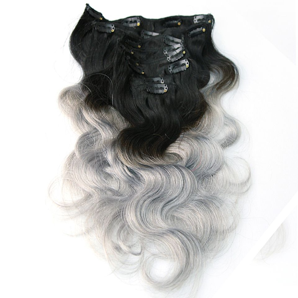 Pcslot ombre body wave human hair extensions color bgray girl