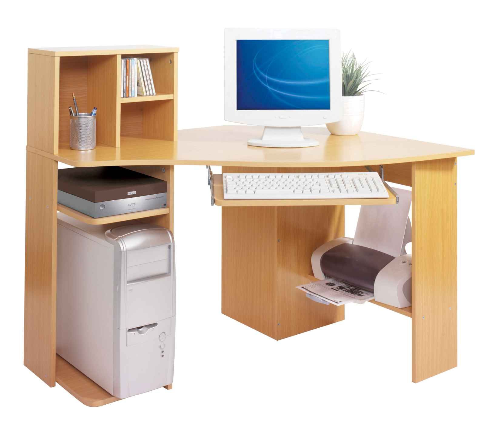 Awe Inspiring Small Computer Desk With Printer Shelf Modern Home
