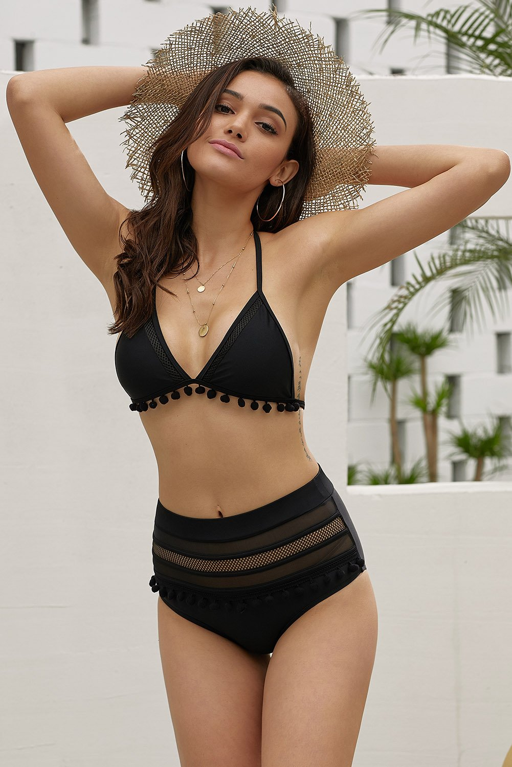 Z| Chicloth Black Pom Pom Mesh Insert High Waist Bikini#swimsuit #bikini #Swimwe... 8