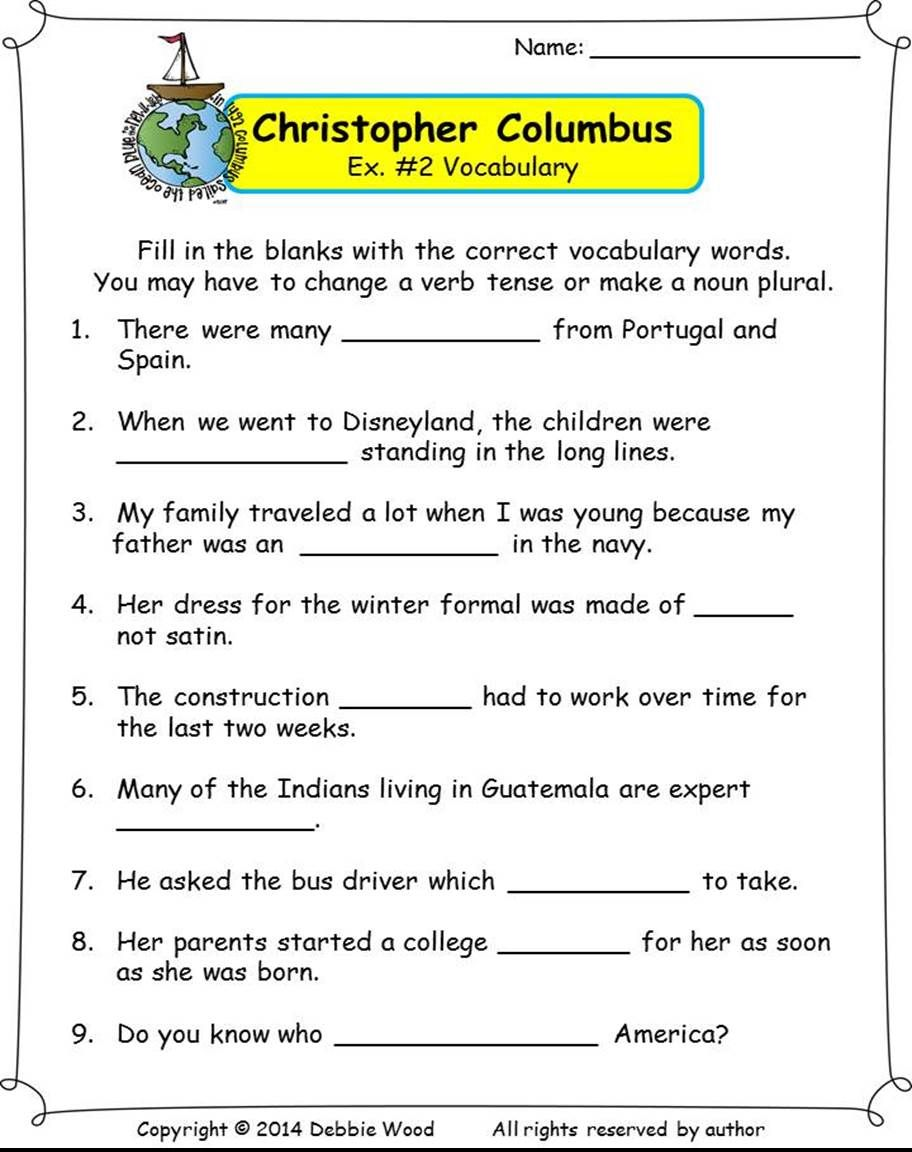 small resolution of Christopher Columbus Reading/ Vocabulary Strip Story/ WH Questions…    Reading comprehension worksheets